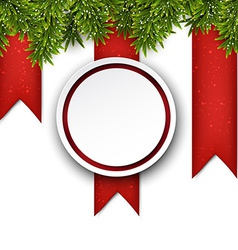 Christmas background with fir branches and ball vector