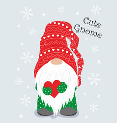 christmas winter card with cute gnome vector image
