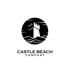 coastal with castle logo design template vector image