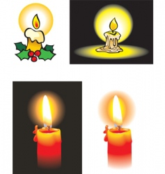 Collection burning candles vector