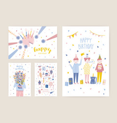 collection of birthday greeting card postcard or vector image