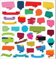 Collection of empty ribbons stickers and tags vector