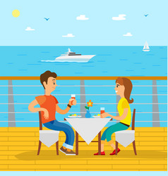couple dinning on cruise liner side view vector image