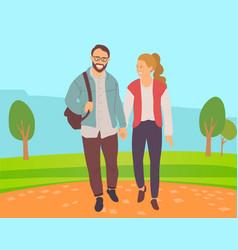 couple go in park lovers walking outdoor vector image