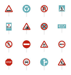 different road signs set flat icons vector image