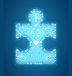 digital puzzle circuit and machine learning vector image