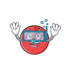 Diving bowling ball character cartoon vector