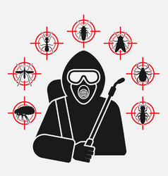Exterminator with sprayer silhouette surrounded by vector
