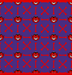fat devil face seamless pattern vector image