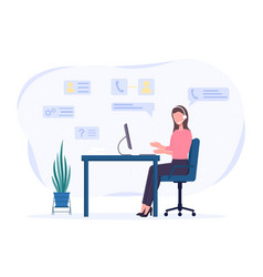 Female character with headset consulting over vector