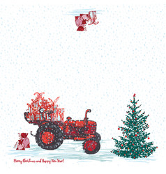 festive new year 2019 card red tractor with fir vector image
