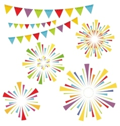 fireworks and garlands vector image