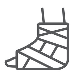 foot brace line icon orthopedic and medical vector image