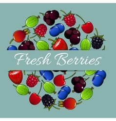 Fresh berries fruit poster vector