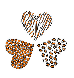 giraffe leopard and tiger print skin in the shape vector image
