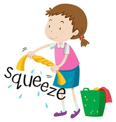 Girl squeezing clothes alone vector