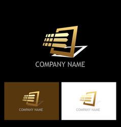 Gold square digital data logo vector