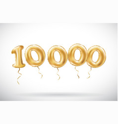 golden number 10000 ten thousand metallic balloon vector image