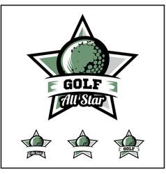 Golf ball all star badge logo vector