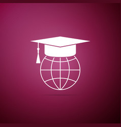graduation cap on globe icon on purple background vector image