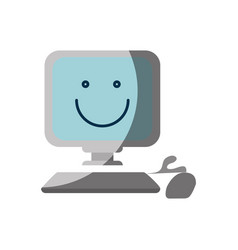 Happy computer icon vector