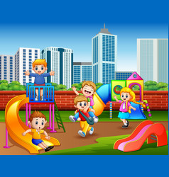 happy kindergarten children playing in the playgro vector image