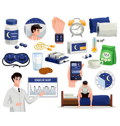 healthy sleep flat set vector image