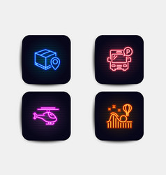 Helicopter parcel tracking and bus parking icons vector