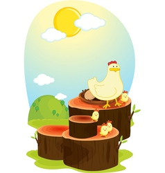 hen on log vector image