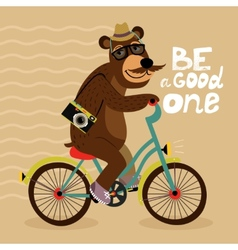 Hipster poster with geek bear vector image