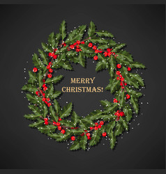 Holly wreath with berries vector