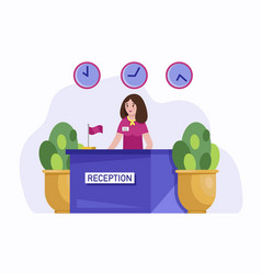 Hotel reception concept vector