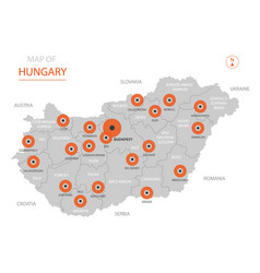 hungary map with administrative divisions vector image