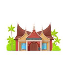Indonesian cuisine restaurant architecture design vector