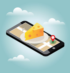 Isometric city food delivering cheese shop vector