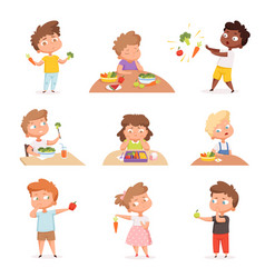 kids and vegetables little hungry children eating vector image