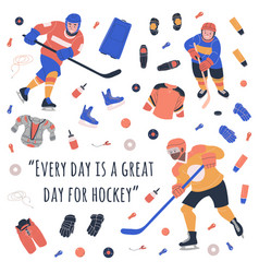 Kids hockey players and motivation text vector