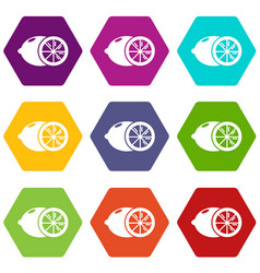 lemon icons set 9 vector image