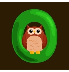 Letter o with animal owl for kids abc education vector