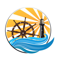 lighthouse on wave and wheel vector image