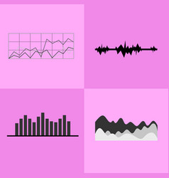 line and bar graphs icons vector image