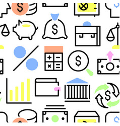 linear style financial icon set pattern vector image