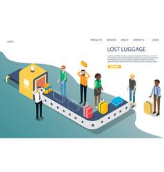 Lost baggage website landing page template vector