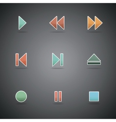Media player web icons vector image