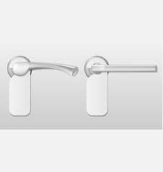 Metal hotel door handle lock with white blank vector