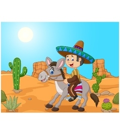 Mexican men driving a donkey in the desert vector image