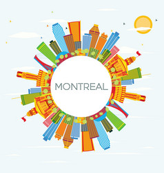 Montreal skyline with color buildings blue sky vector
