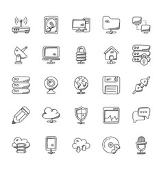 network doodle icons set vector image