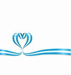 Nicaraguan flag heart-shaped ribbon vector