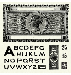 old world currency and font vector image